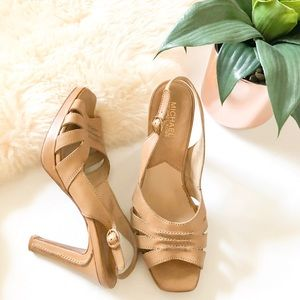 MICHAEL KORS Leather Tan Sandal High Heels